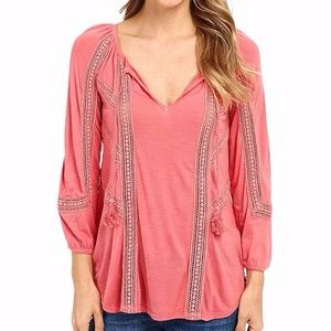 Lucky Brand Lace Mixed Peasant Top Rose Medium